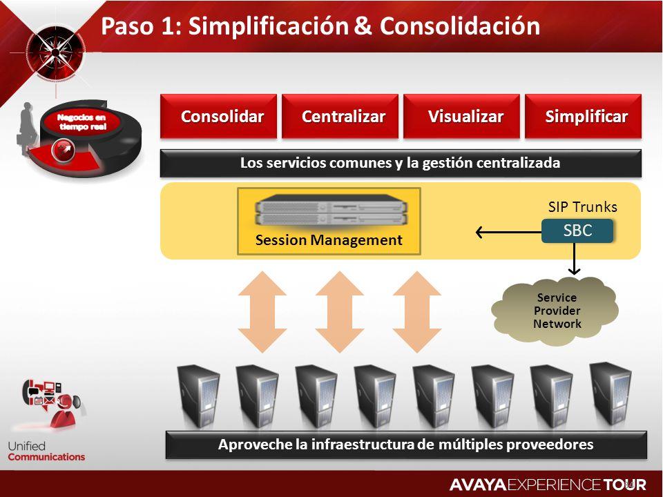 Paso 1: Simplificación & Consolidación 34 Service Provider Network SBC SIP TrunksConsolidarConsolidarCentralizarCentralizarVisualizarVisualizarSimplificarSimplificar Los servicios comunes y la gestión centralizada Aproveche la infraestructura de múltiples proveedores Session Management