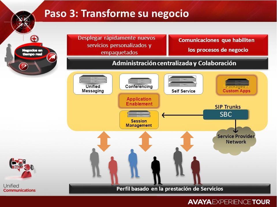36 Service Provider Network SBC SIP Trunks Comunicaciones que habiliten los procesos de negocio Comunicaciones que habiliten los procesos de negocio A