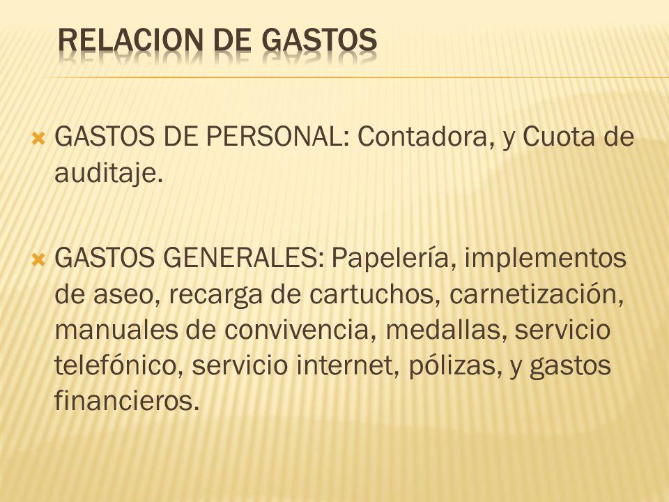 GASTOS DE PERSONAL: Contadora, y Cuota de auditaje. GASTOS GENERALES: Papelería, implementos de aseo, recarga de cartuchos, carnetización, manuales de