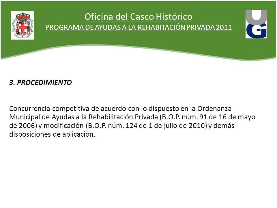 Oficina del Casco Histórico PROGRAMA DE AYUDAS A LA REHABITACIÓN PRIVADA 2011 3. PROCEDIMIENTO Concurrencia competitiva de acuerdo con lo dispuesto en