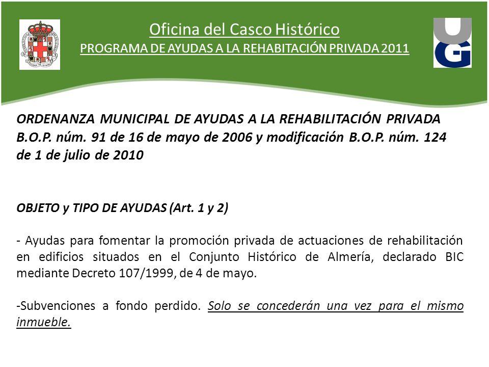 PROGRAMA DE AYUDAS A LA REHABITACIÓN PRIVADA 2011 ORDENANZA MUNICIPAL DE AYUDAS A LA REHABILITACIÓN PRIVADA B.O.P. núm. 91 de 16 de mayo de 2006 y mod