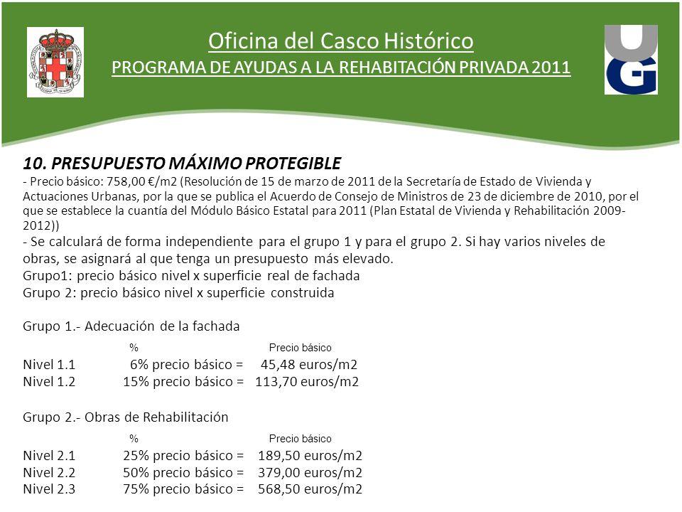 Oficina del Casco Histórico PROGRAMA DE AYUDAS A LA REHABITACIÓN PRIVADA 2011 10. PRESUPUESTO MÁXIMO PROTEGIBLE - Precio básico: 758,00 /m2 (Resolució