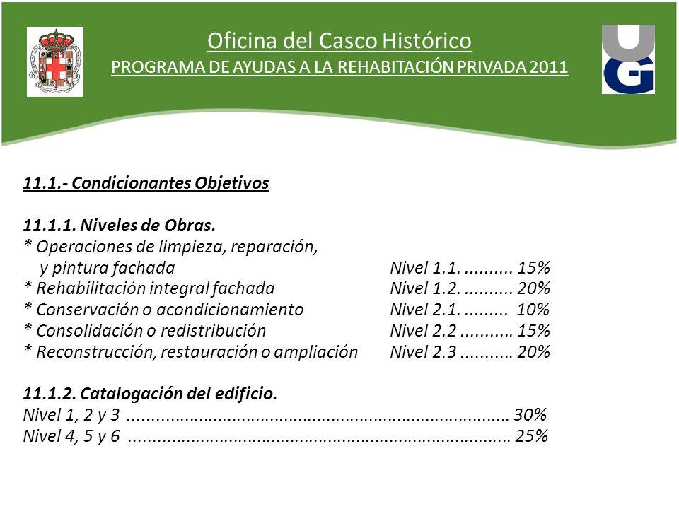 Oficina del Casco Histórico PROGRAMA DE AYUDAS A LA REHABITACIÓN PRIVADA 2011 11.1.- Condicionantes Objetivos 11.1.1.