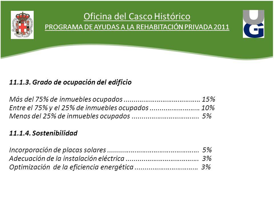 Oficina del Casco Histórico PROGRAMA DE AYUDAS A LA REHABITACIÓN PRIVADA 2011 11.1.3. Grado de ocupación del edificio Más del 75% de inmuebles ocupado