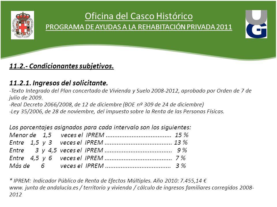 Oficina del Casco Histórico PROGRAMA DE AYUDAS A LA REHABITACIÓN PRIVADA 2011 11.2.- Condicionantes subjetivos. 11.2.1. Ingresos del solicitante. -Tex
