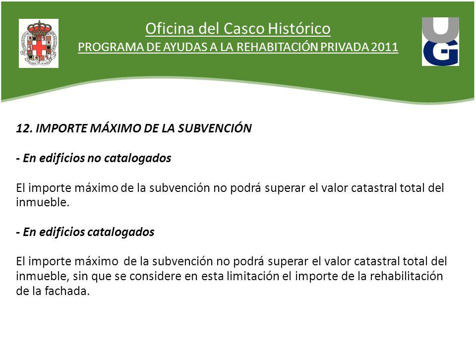 Oficina del Casco Histórico PROGRAMA DE AYUDAS A LA REHABITACIÓN PRIVADA 2011 12. IMPORTE MÁXIMO DE LA SUBVENCIÓN - En edificios no catalogados El imp