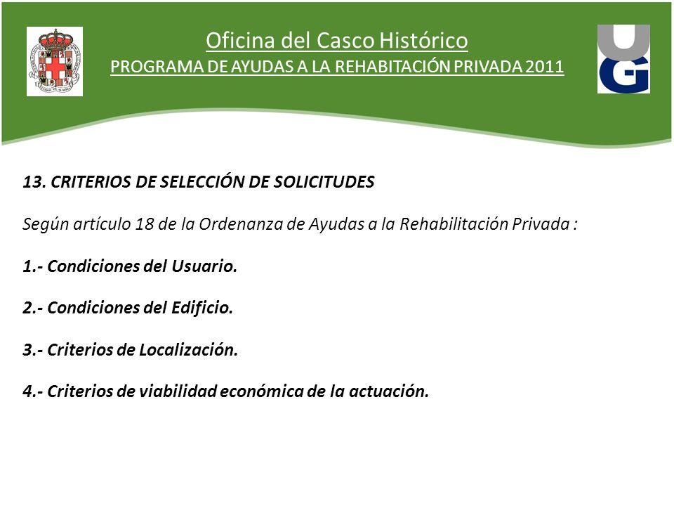 Oficina del Casco Histórico PROGRAMA DE AYUDAS A LA REHABITACIÓN PRIVADA 2011 13. CRITERIOS DE SELECCIÓN DE SOLICITUDES Según artículo 18 de la Ordena