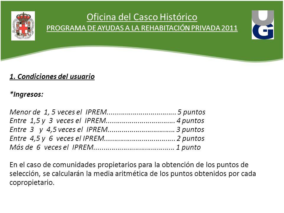 Oficina del Casco Histórico PROGRAMA DE AYUDAS A LA REHABITACIÓN PRIVADA 2011 1. Condiciones del usuario *Ingresos: Menor de 1, 5 veces el IPREM......
