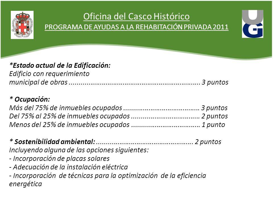 Oficina del Casco Histórico PROGRAMA DE AYUDAS A LA REHABITACIÓN PRIVADA 2011 *Estado actual de la Edificación: Edificio con requerimiento municipal d