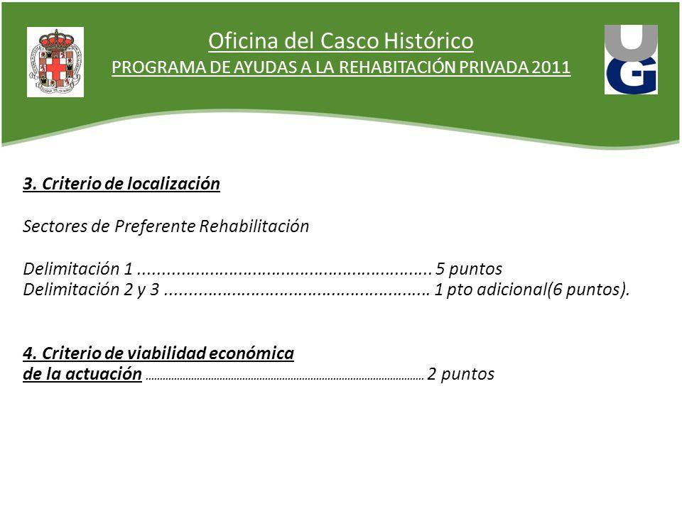 Oficina del Casco Histórico PROGRAMA DE AYUDAS A LA REHABITACIÓN PRIVADA 2011 3. Criterio de localización Sectores de Preferente Rehabilitación Delimi