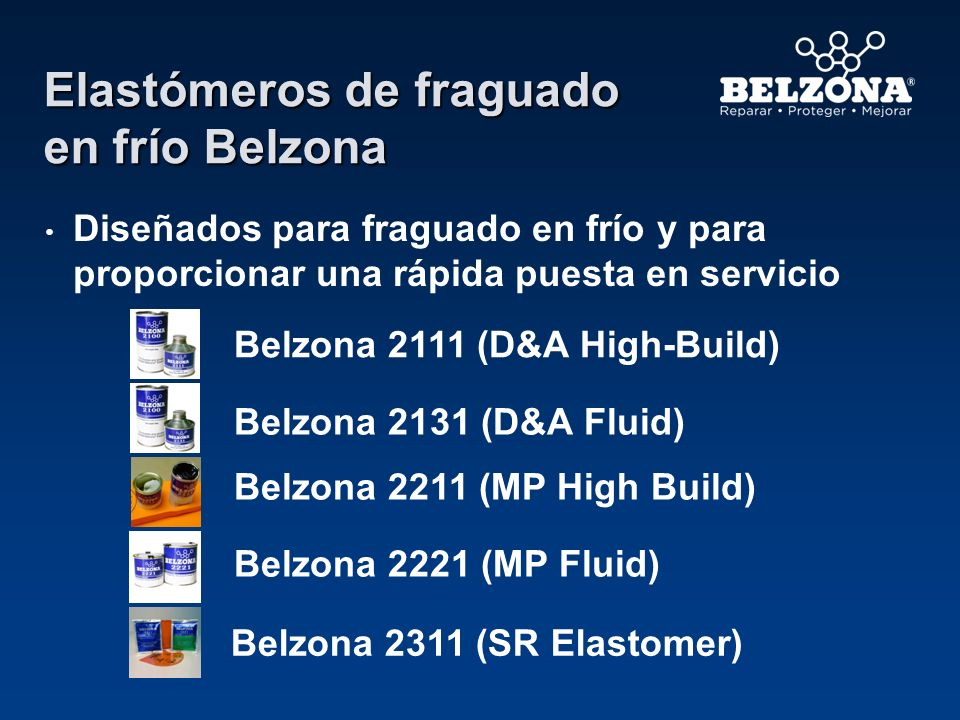 Elastómeros de fraguado en frío Belzona Diseñados para fraguado en frío y para proporcionar una rápida puesta en servicio Belzona 2111 (D&A High-Build