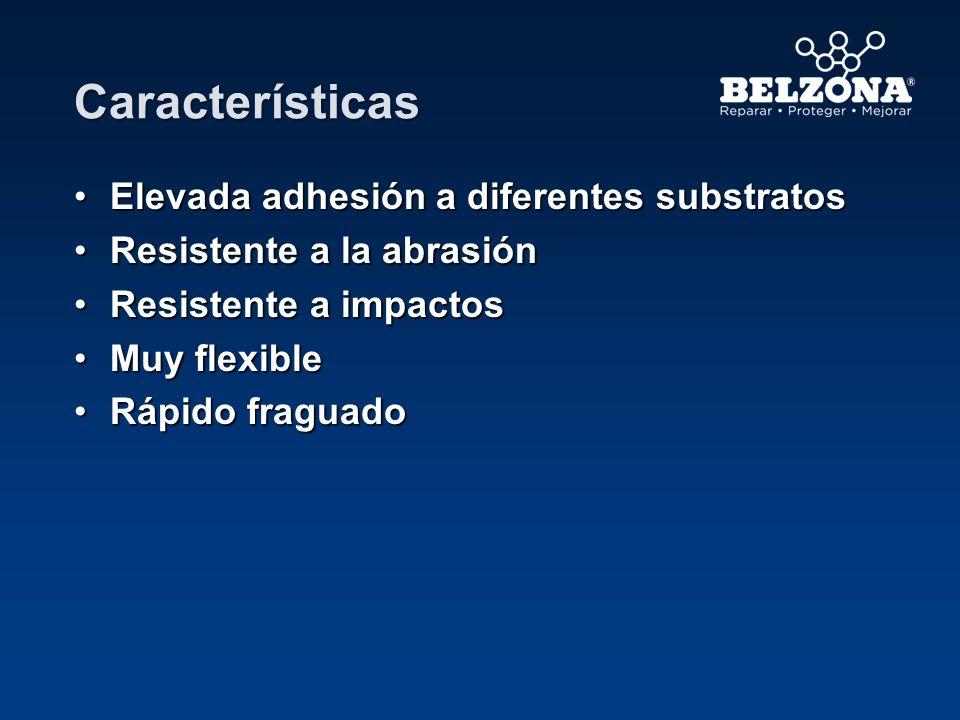 Características Elevada adhesión a diferentes substratosElevada adhesión a diferentes substratos Resistente a la abrasiónResistente a la abrasión Resi
