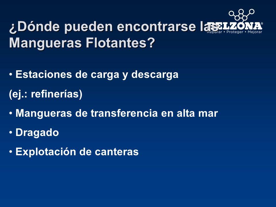 Clases de mangueras flotantes - Manguera flotante completa - Manguera flotante de flotabilidad especial -Mitad de manguera flotante (1 ra parte sin flotabilidad) - Mitad de manguera.