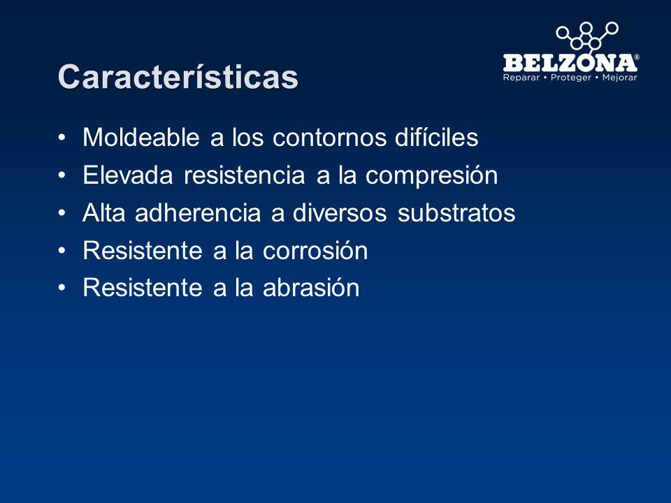 Características Moldeable a los contornos difíciles Elevada resistencia a la compresión Alta adherencia a diversos substratos Resistente a la corrosió