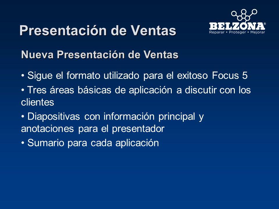 Presentación de Ventas Nueva Presentación de Ventas Sigue el formato utilizado para el exitoso Focus 5 Tres áreas básicas de aplicación a discutir con