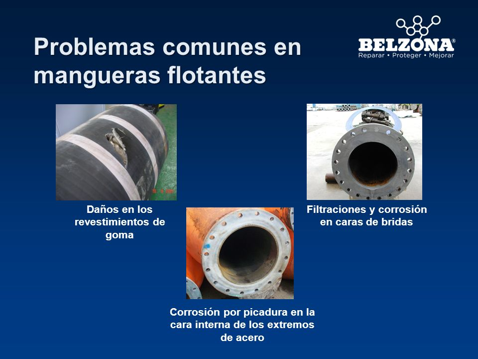 Problemas comunes en mangueras flotantes Daños en los revestimientos de goma Filtraciones y corrosión en caras de bridas Corrosión por picadura en la