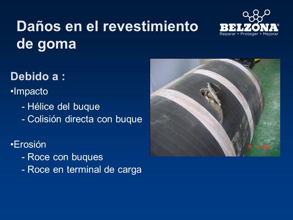 Daños en el revestimiento de goma Debido a : Impacto - Hélice del buque - Colisión directa con buque Erosión - Roce con buques - Roce en terminal de c