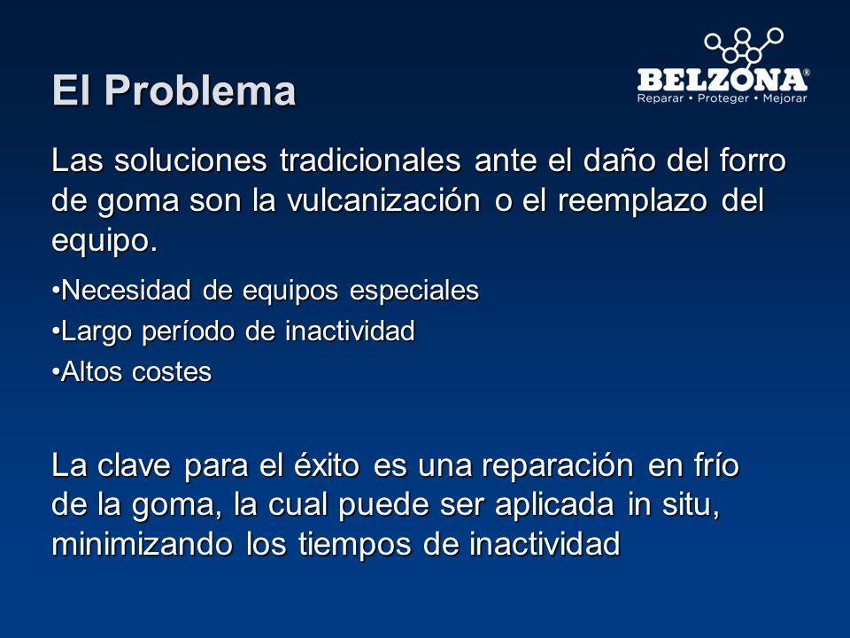 El Problema Las soluciones tradicionales ante el daño del forro de goma son la vulcanización o el reemplazo del equipo. Necesidad de equipos especiale