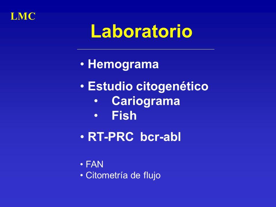 Laboratorio Hemograma Estudio citogenético Cariograma Fish RT-PRC bcr-abl FAN Citometría de flujo LMC