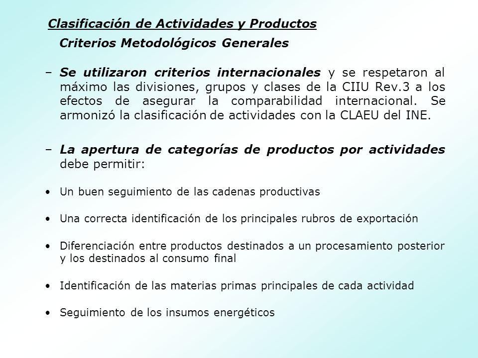 Criterios Metodológicos Generales –Se utilizaron criterios internacionales y se respetaron al máximo las divisiones, grupos y clases de la CIIU Rev.3 a los efectos de asegurar la comparabilidad internacional.