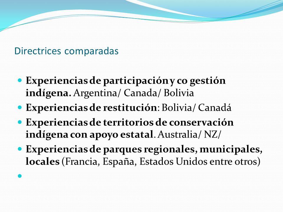 Directrices comparadas Experiencias de participación y co gestión indígena. Argentina/ Canada/ Bolivia Experiencias de restitución: Bolivia/ Canadá Ex