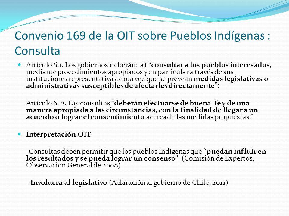 Convenio 169 de la OIT sobre Pueblos Indígenas : Consulta Artículo 6.1. Los gobiernos deberán: a) consultar a los pueblos interesados, mediante proced
