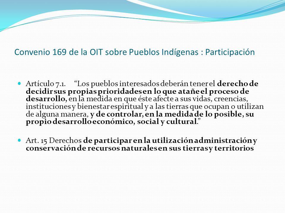 Convenio 169 de la OIT sobre Pueblos Indígenas : Participación Artículo 7.1.Los pueblos interesados deberán tener el derecho de decidir sus propias pr