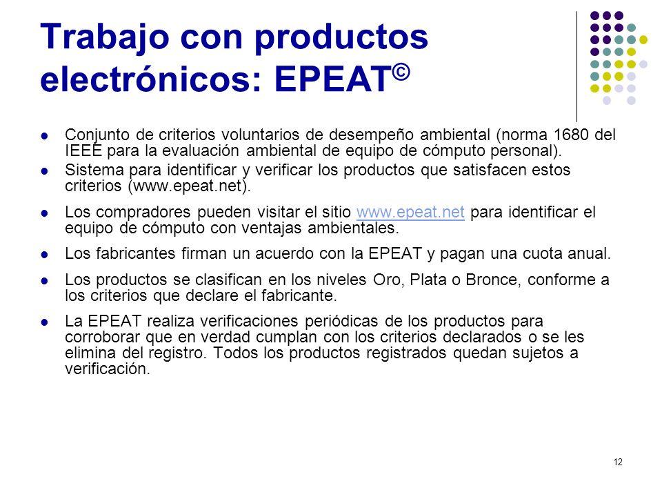 12 Trabajo con productos electrónicos: EPEAT © Conjunto de criterios voluntarios de desempeño ambiental (norma 1680 del IEEE para la evaluación ambien
