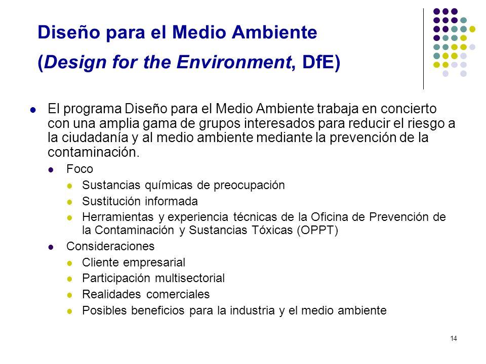 14 Diseño para el Medio Ambiente (Design for the Environment, DfE) El programa Diseño para el Medio Ambiente trabaja en concierto con una amplia gama