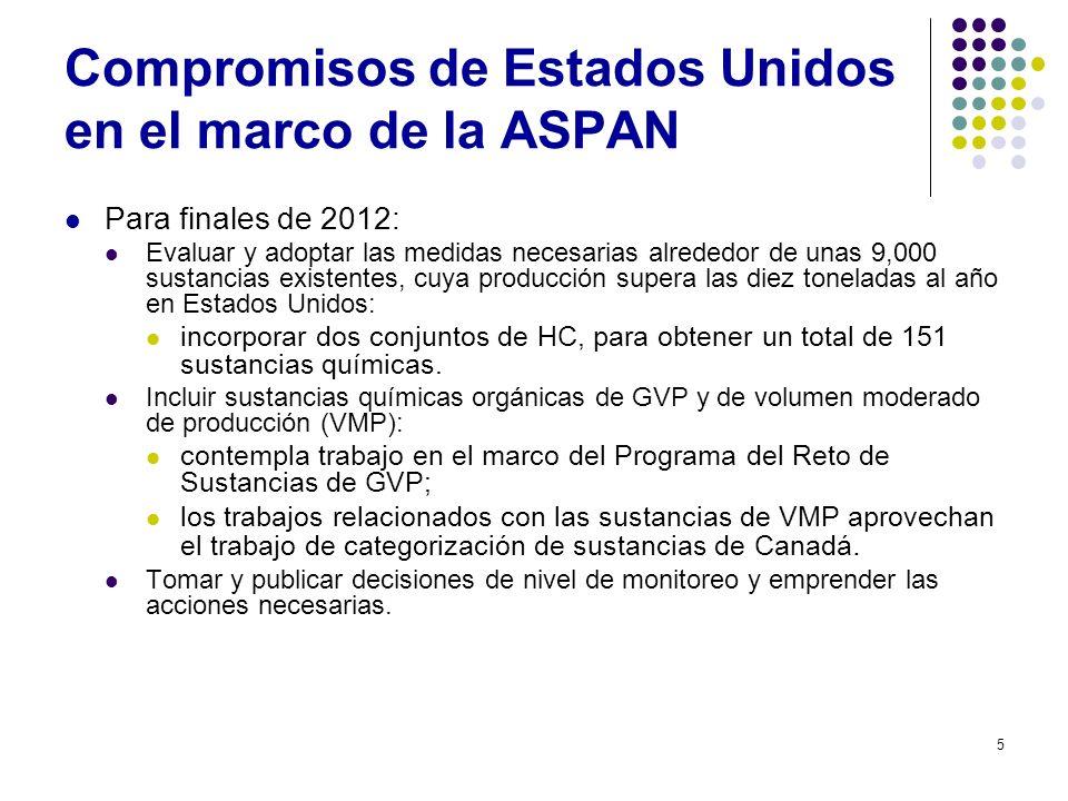 5 Compromisos de Estados Unidos en el marco de la ASPAN Para finales de 2012: Evaluar y adoptar las medidas necesarias alrededor de unas 9,000 sustanc