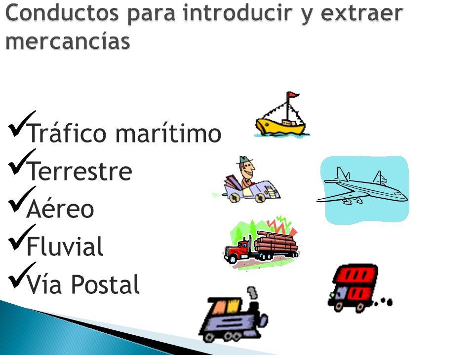 Tráfico marítimo Terrestre Aéreo Fluvial Vía Postal
