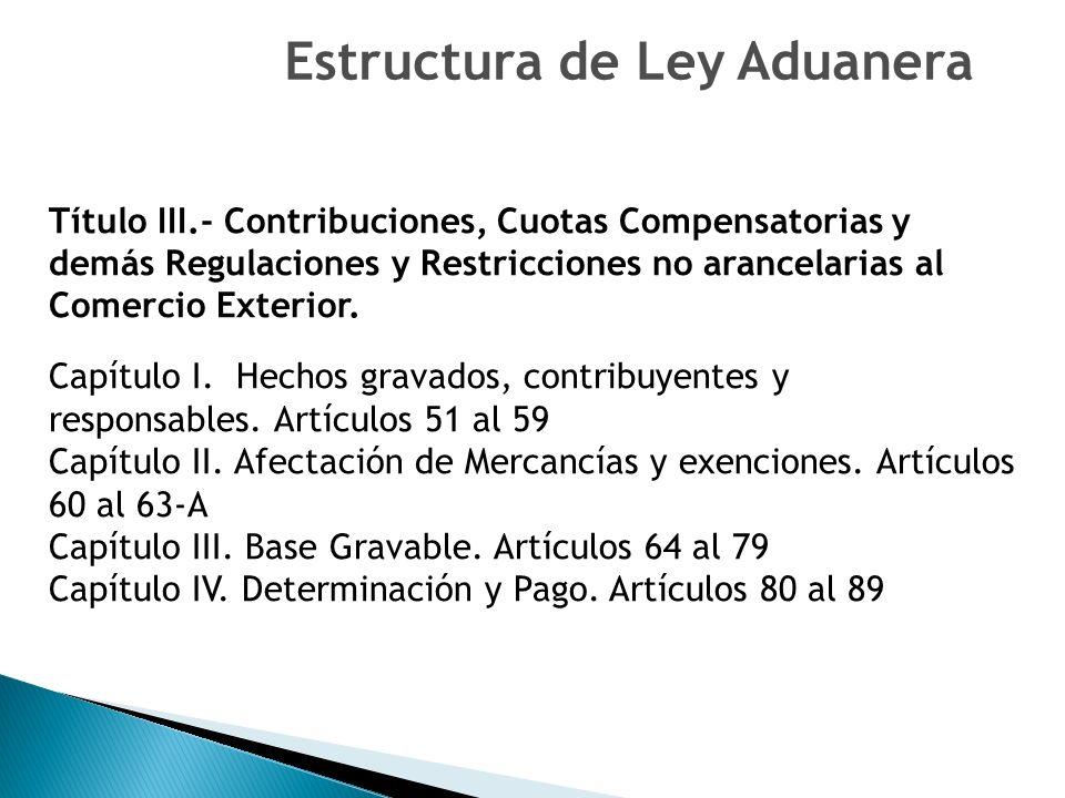Título III.- Contribuciones, Cuotas Compensatorias y demás Regulaciones y Restricciones no arancelarias al Comercio Exterior.
