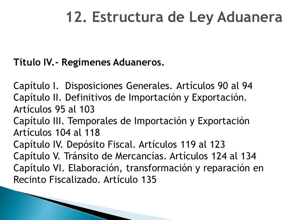 Título IV.- Regímenes Aduaneros.Capítulo I. Disposiciones Generales.