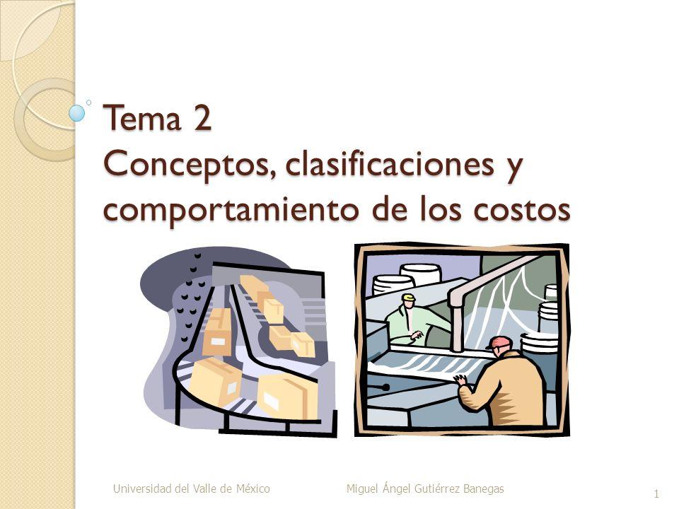 Tema 2 Conceptos, clasificaciones y comportamiento de los costos Universidad del Valle de México Miguel Ángel Gutiérrez Banegas 1