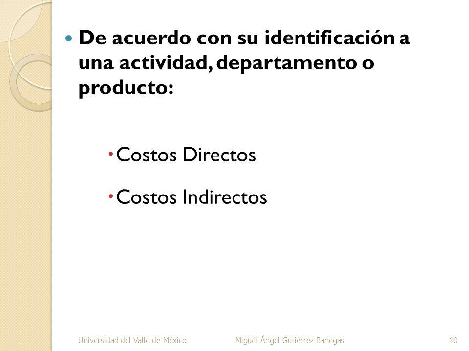 De acuerdo con su identificación a una actividad, departamento o producto: Costos Directos Costos Indirectos Universidad del Valle de MéxicoMiguel Áng
