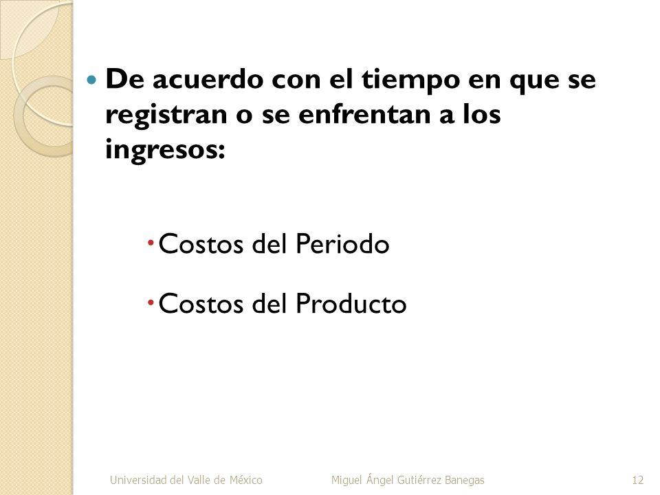 De acuerdo con el tiempo en que se registran o se enfrentan a los ingresos: Costos del Periodo Costos del Producto Universidad del Valle de MéxicoMigu
