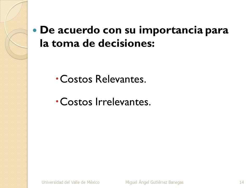 De acuerdo con su importancia para la toma de decisiones: Costos Relevantes. Costos Irrelevantes. Universidad del Valle de MéxicoMiguel Ángel Gutiérre