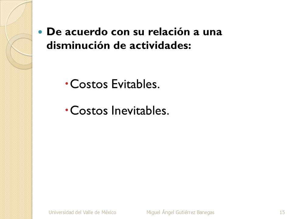 De acuerdo con su relación a una disminución de actividades: Costos Evitables. Costos Inevitables. Universidad del Valle de MéxicoMiguel Ángel Gutiérr