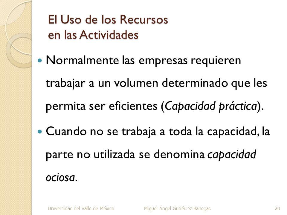 El Uso de los Recursos en las Actividades Normalmente las empresas requieren trabajar a un volumen determinado que les permita ser eficientes (Capacid