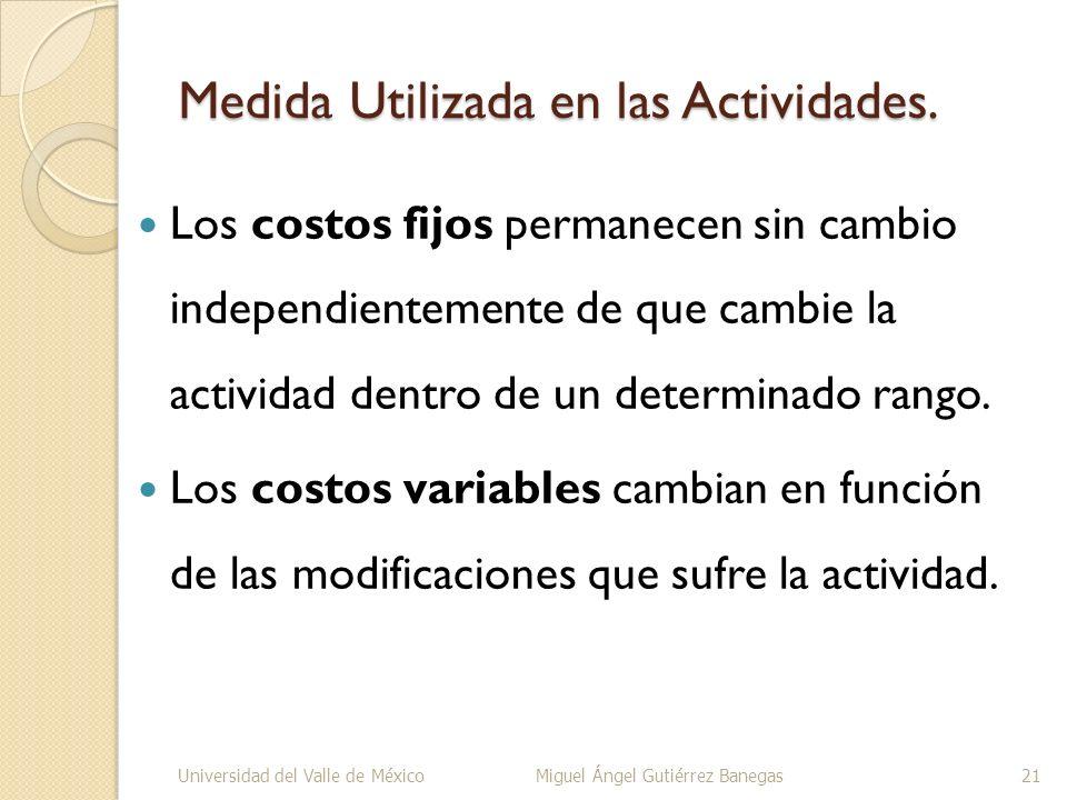 Medida Utilizada en las Actividades. Los costos fijos permanecen sin cambio independientemente de que cambie la actividad dentro de un determinado ran