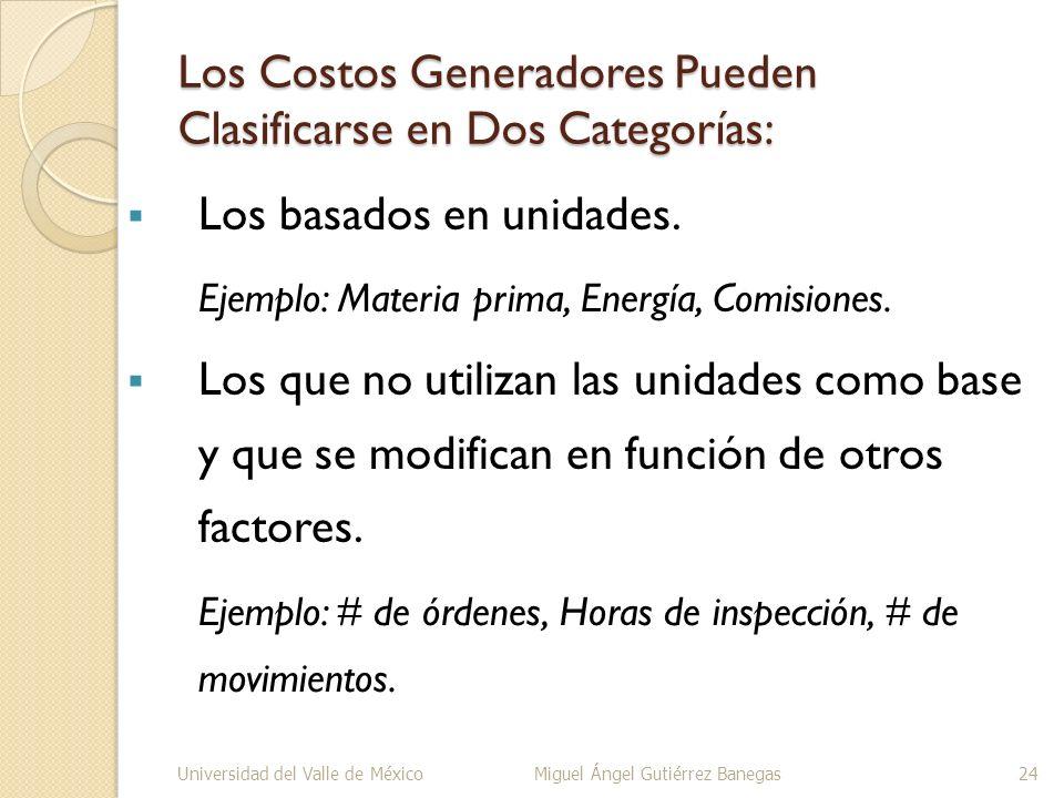 Los Costos Generadores Pueden Clasificarse en Dos Categorías: Los basados en unidades. Ejemplo: Materia prima, Energía, Comisiones. Los que no utiliza