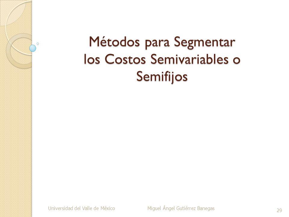 Métodos para Segmentar los Costos Semivariables o Semifijos Universidad del Valle de México Miguel Ángel Gutiérrez Banegas 29