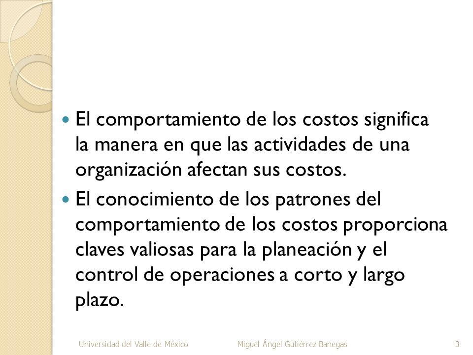El comportamiento de los costos significa la manera en que las actividades de una organización afectan sus costos. El conocimiento de los patrones del