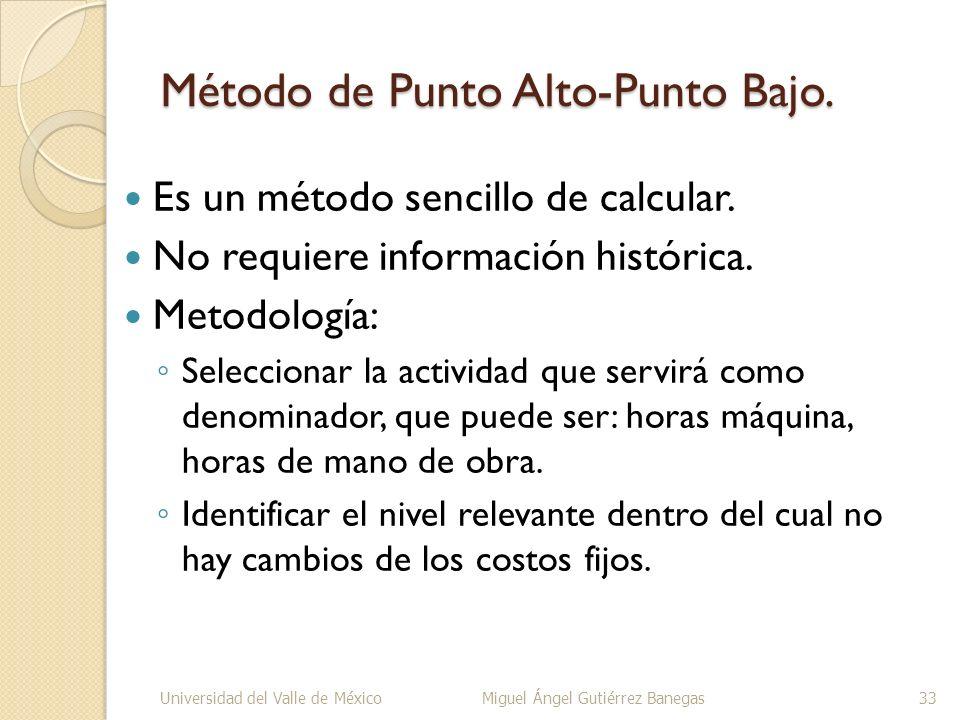 Método de Punto Alto-Punto Bajo. Es un método sencillo de calcular. No requiere información histórica. Metodología: Seleccionar la actividad que servi