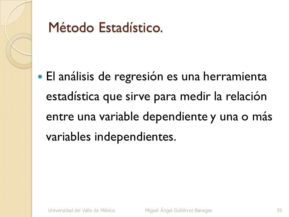 Método Estadístico. El análisis de regresión es una herramienta estadística que sirve para medir la relación entre una variable dependiente y una o má