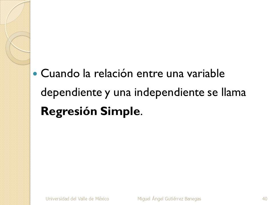 Cuando la relación entre una variable dependiente y una independiente se llama Regresión Simple. Universidad del Valle de MéxicoMiguel Ángel Gutiérrez