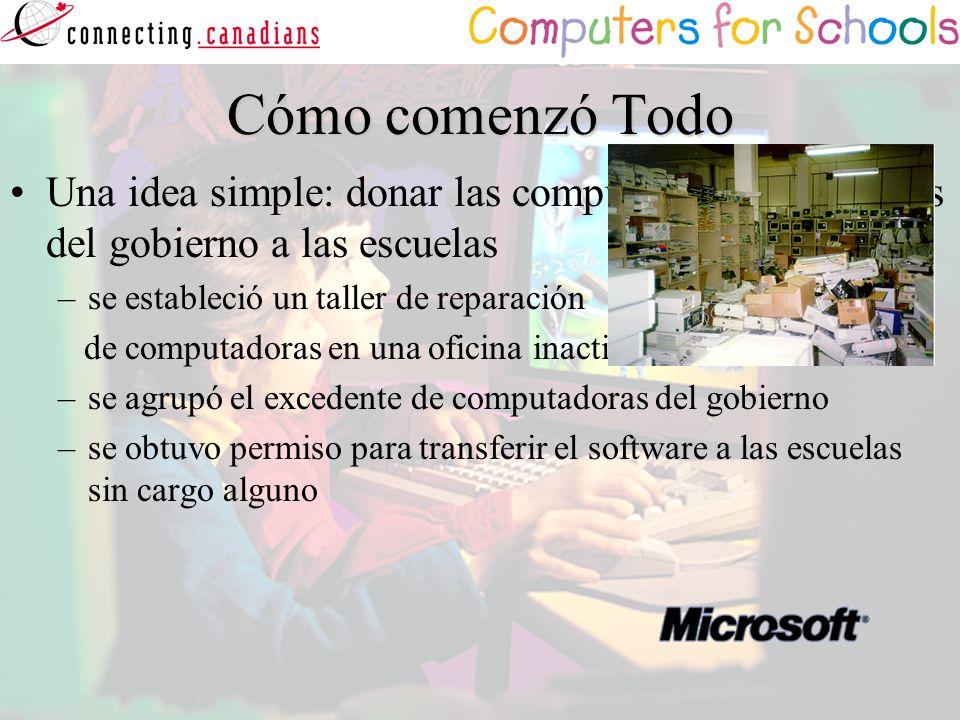 Cómo comenzó Todo Una idea simple: donar las computadoras excedentes del gobierno a las escuelas –se estableció un taller de reparación de computadora
