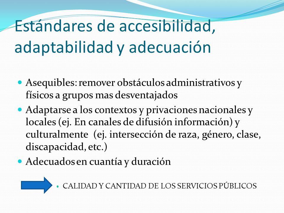 Estándares de accesibilidad, adaptabilidad y adecuación Asequibles: remover obstáculos administrativos y físicos a grupos mas desventajados Adaptarse