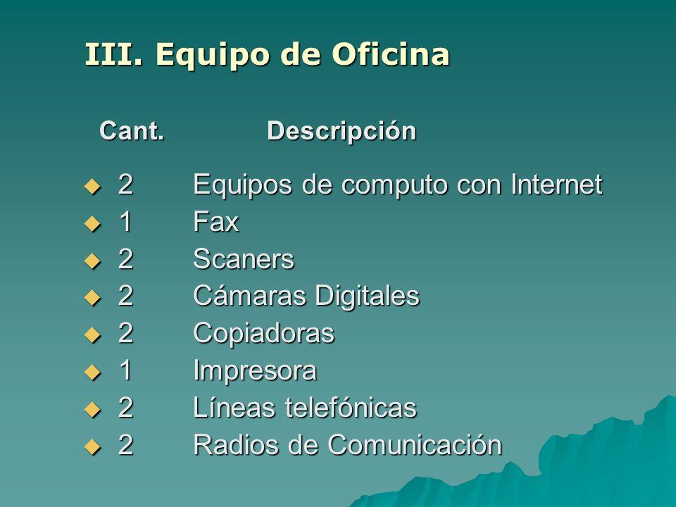 III. Equipo de Oficina Cant. Descripción Cant. Descripción 2 Equipos de computo con Internet 2 Equipos de computo con Internet 1 Fax 1 Fax 2 Scaners 2