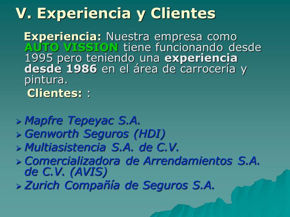 V. Experiencia y Clientes Experiencia: Nuestra empresa como AUTO VISSION tiene funcionando desde 1995 pero teniendo una experiencia desde 1986 en el á